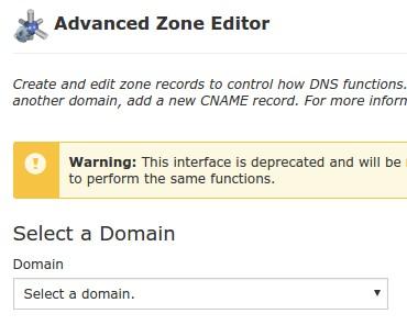 Pilih Domain untuk pengaturan Subdomain