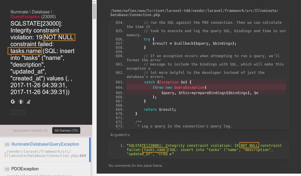 Error SQL tanpa validasi