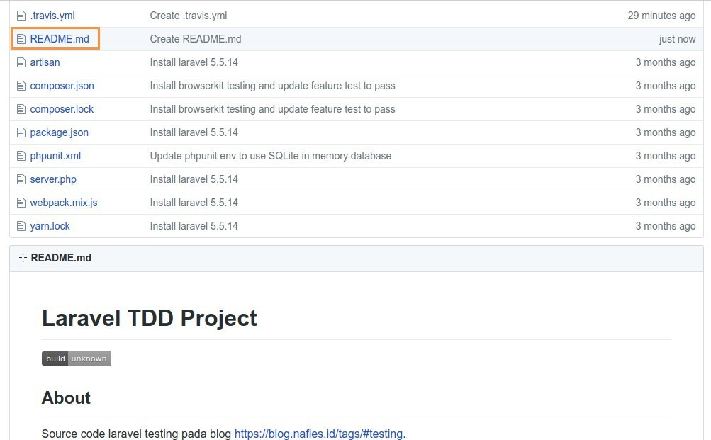 Buat badge build README.md