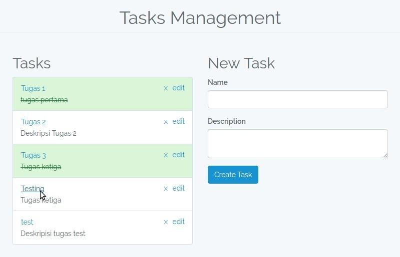Tampilan Toggle Task Status