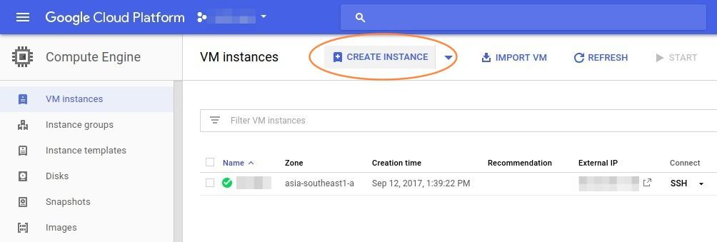 Google Cloud Engine Create Instance