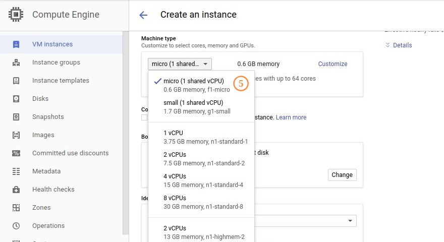 Google Cloud Engine Machine Type