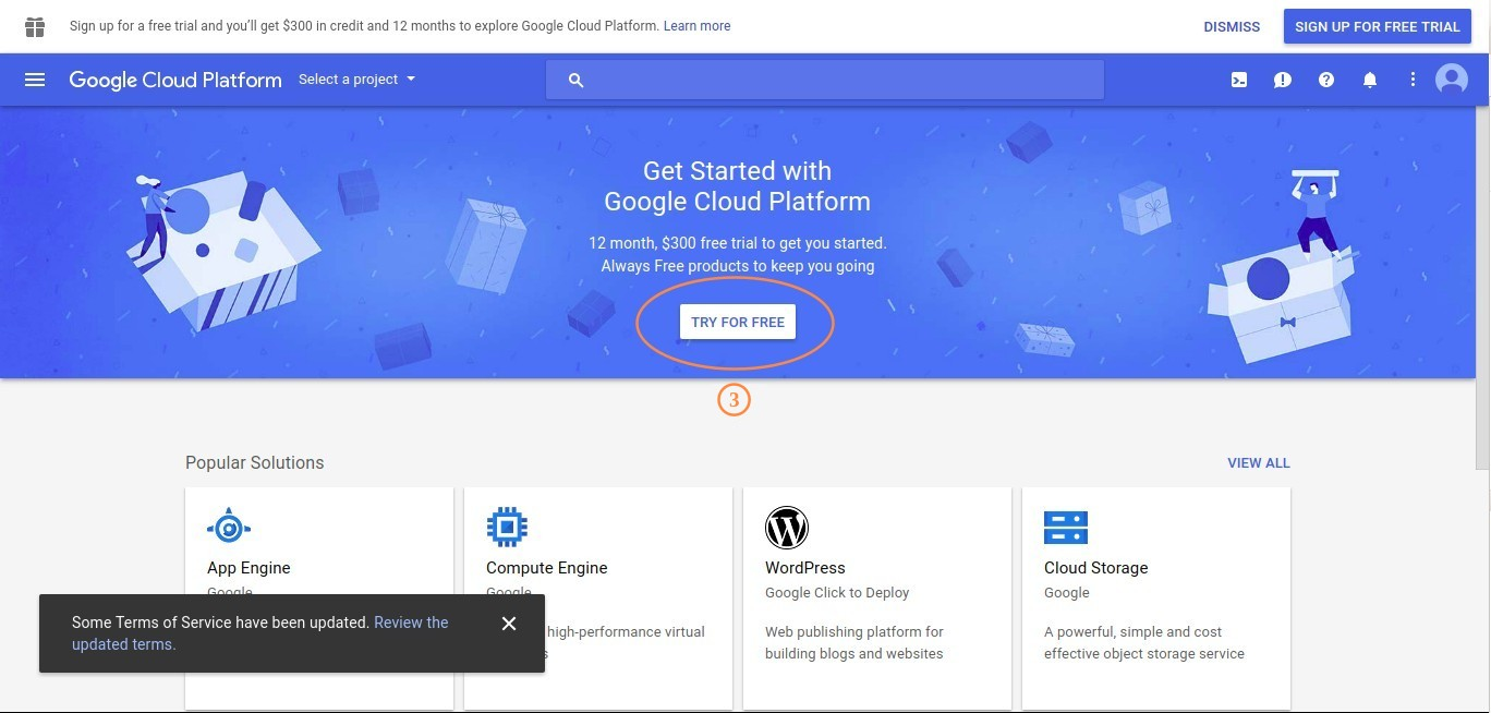 Google Cloud Platform Homepage