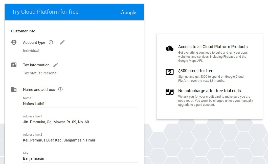 Google Cloud Platform Form