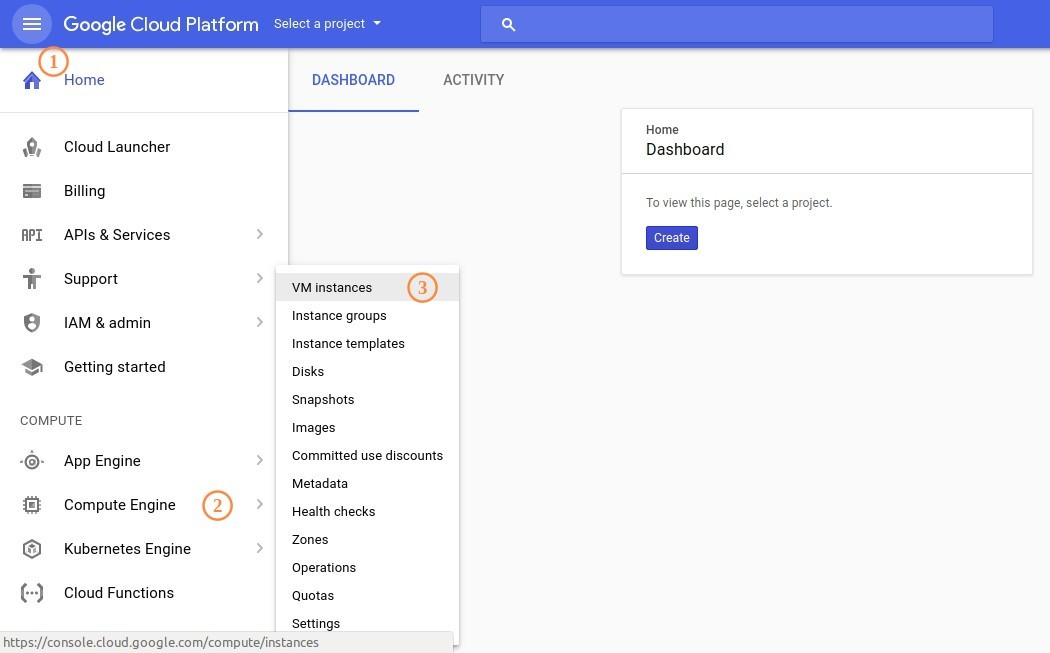 Google Cloud Platform Menu