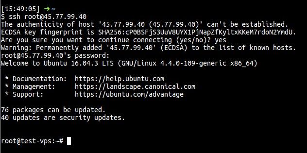 SSH ke VPS dengan user root