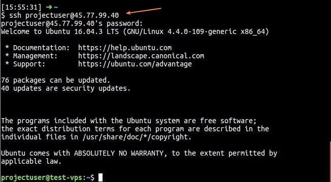 SSH dengan user baru