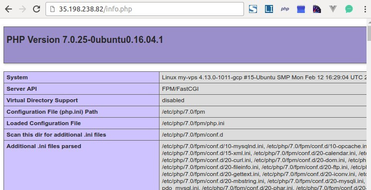 PHP 7.0 info