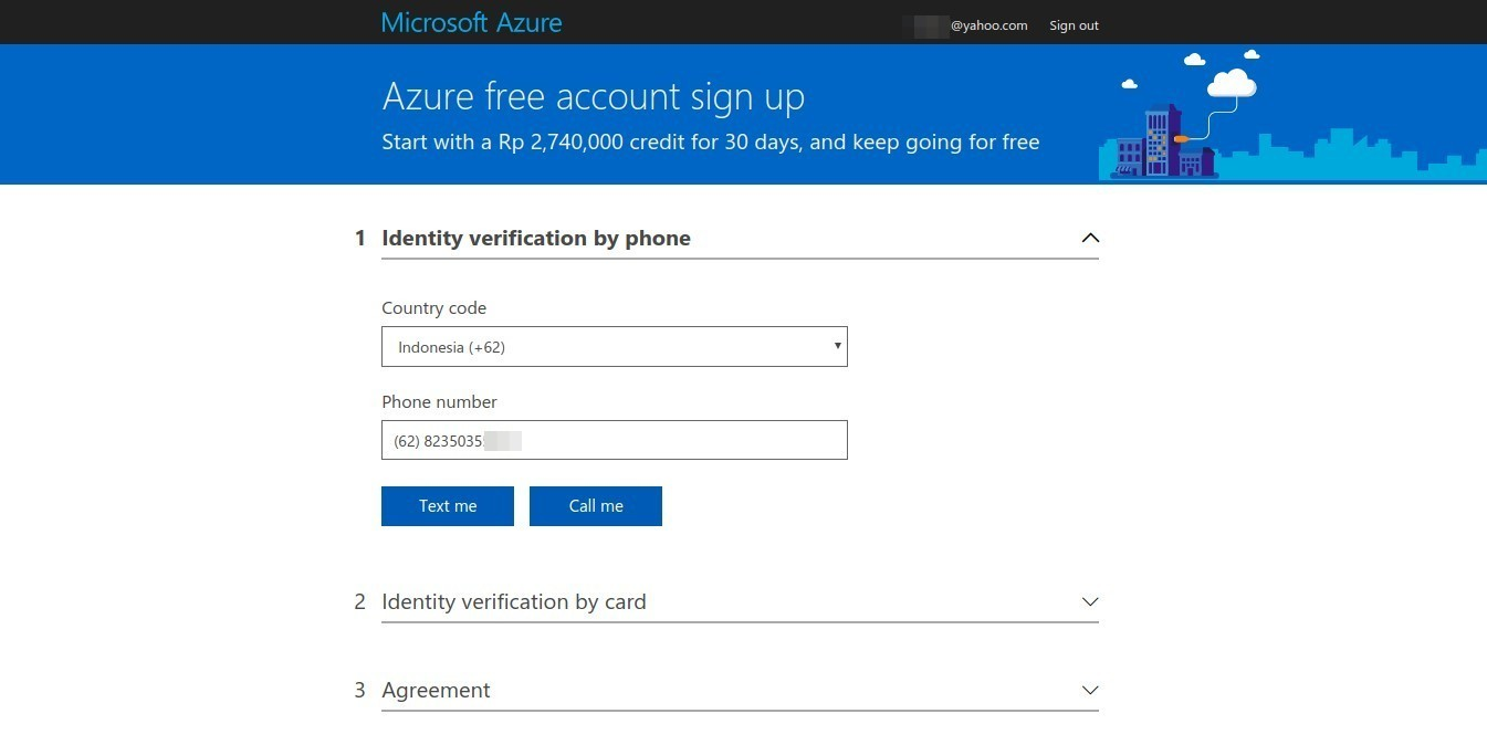 Azure sign up form