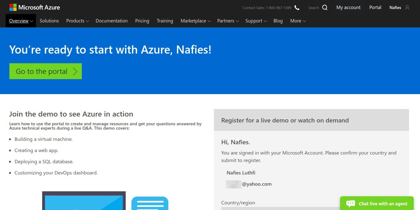 Azure sign up card