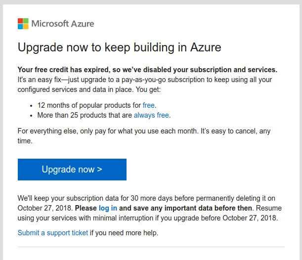 MS Azure Subscription Disabled