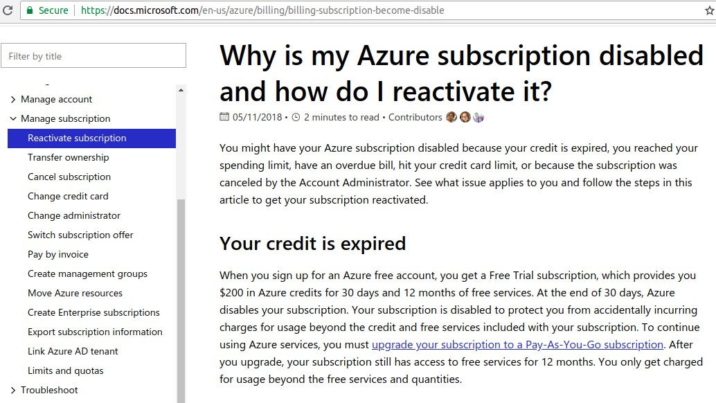 MS Azure Subscription Disabled Documentation