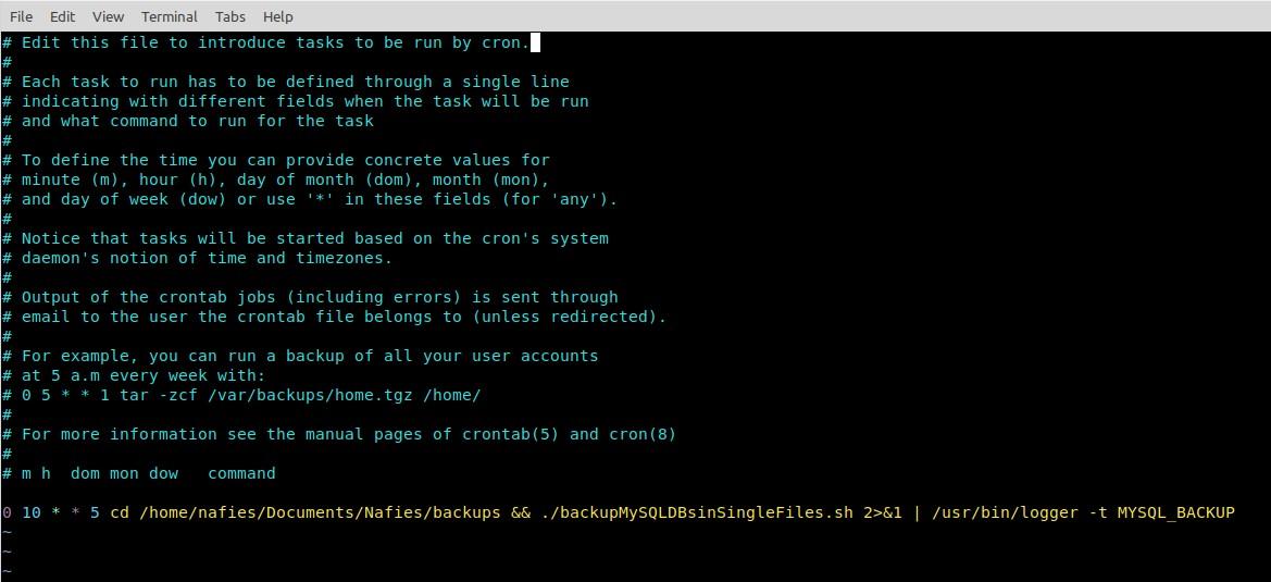 CRON setup for backupMySQLDBsinSingleFiles.sh