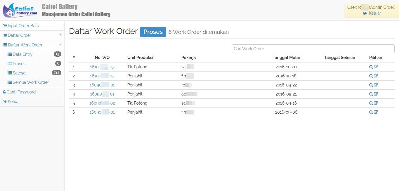 Daftar Work Order Calief Gallery