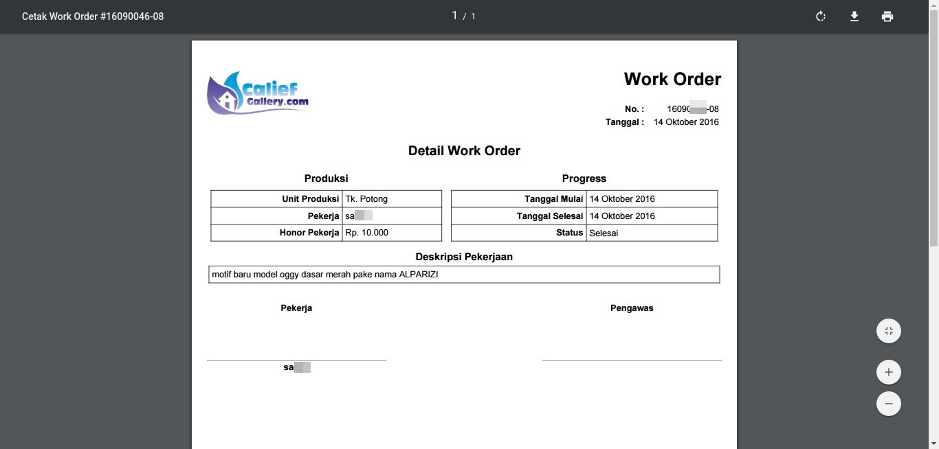 Cetak Work Order Calief Gallery