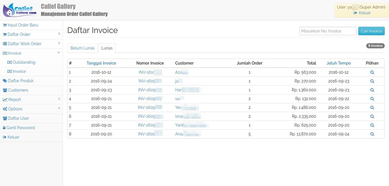Daftar Invoice Customer Calief Gallery
