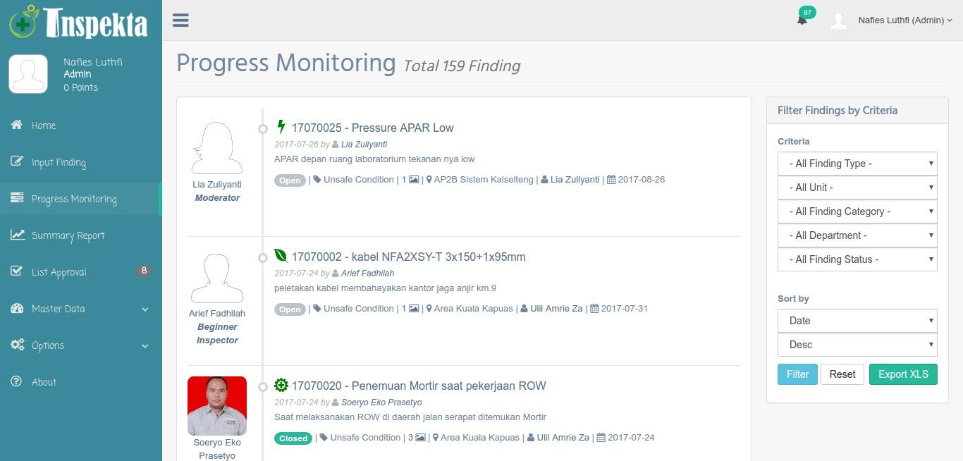 Progress Monitoring Inspekta