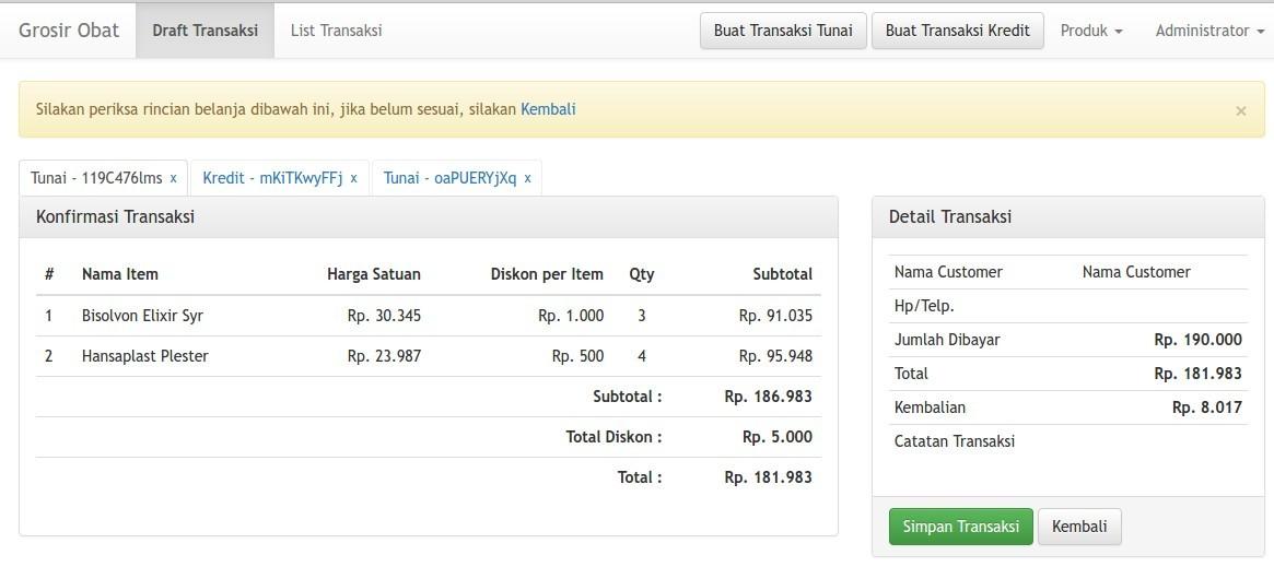 Konfirmasi Entry Transaksi Apotek Halim