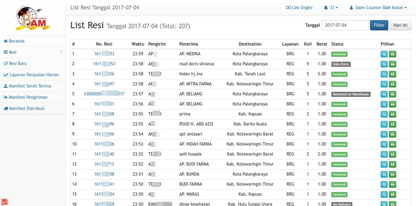 Daftar Resi Per Tanggal (Harian) BAM Online