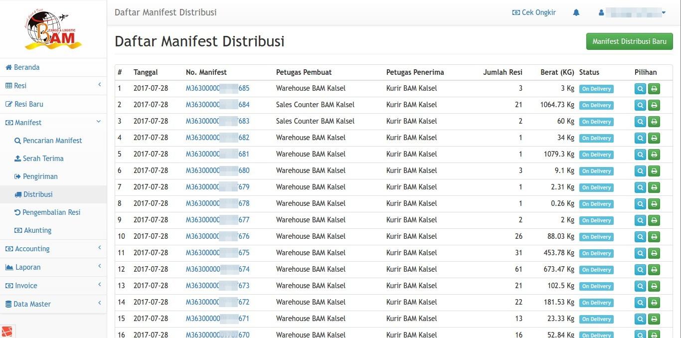 Daftar Manifest Distribusi Paket BAM Online