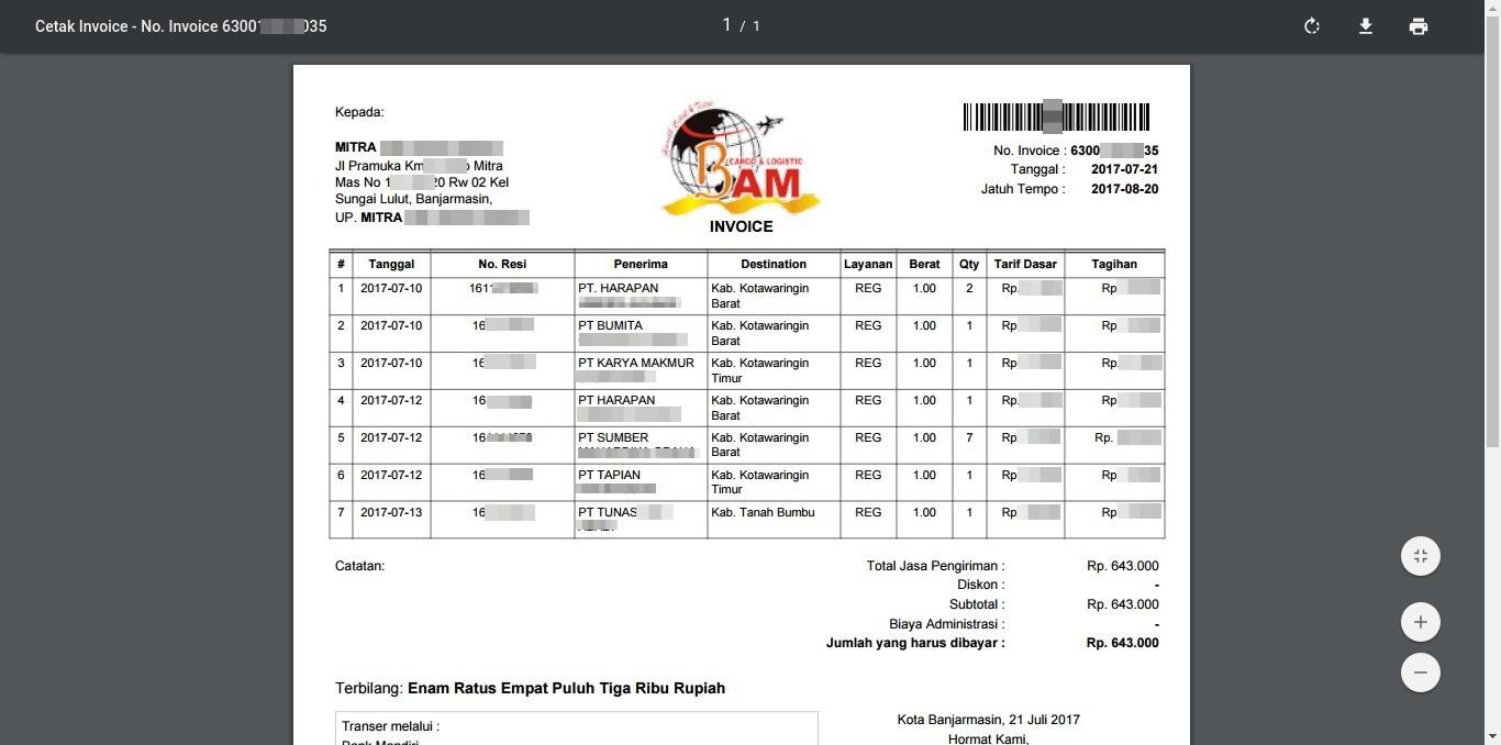 Cetak Invoice PDF BAM Online