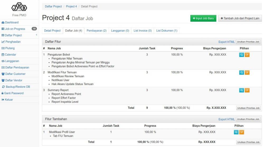 Free PMO Project Job List